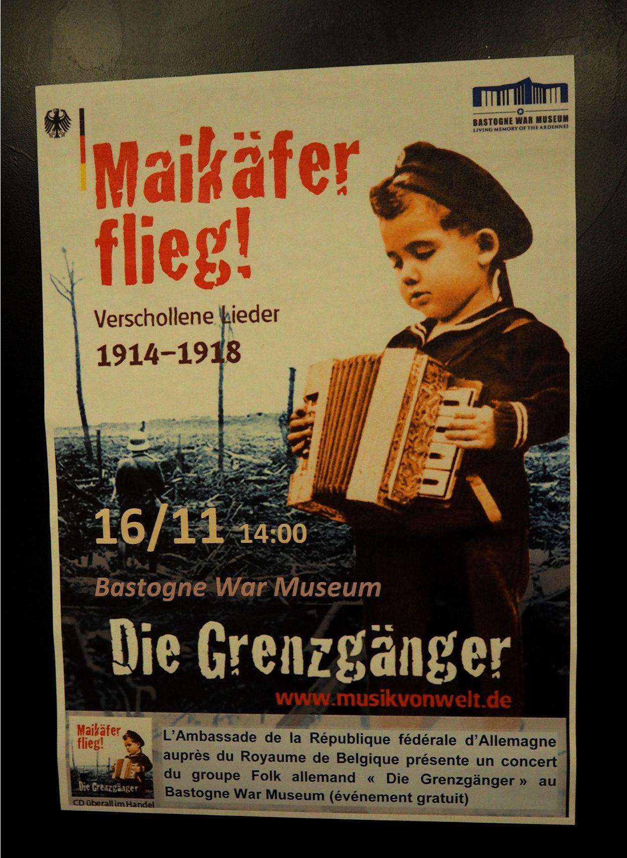 Die Grenzgänger im Bastogne War Museum - Ankündigung